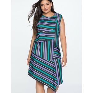 Eloquii Dress Opposing Stripes Sleeveless Draped